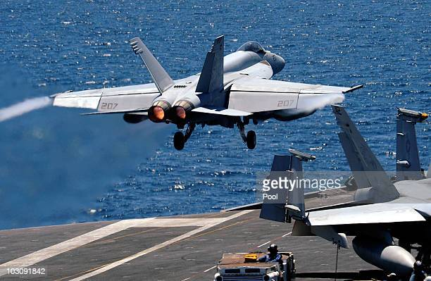 S fighter takes off from the flight deck of USS George Washington during a joint military exercises at east sea on July 26 2010 in South Korea The...