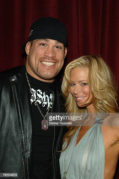 UFC fighter Tito Ortiz and actress Jenna Jameson pose for photos at the prered carpet cocktail party for the World Premiere of Rambo at Prive at The...