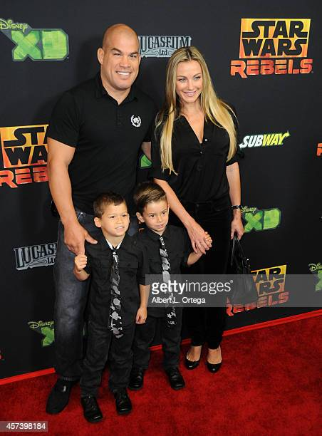 Fighter Tito Ortiz and Amber Nichole Miller arrive for Disney XD's Star Wars Rebels Spark Of Rebellion Los Angeles Special Screening held at AMC...