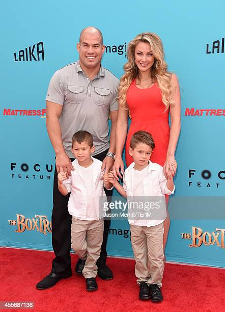 Fighter Tito Ortiz and model Amber Miller attend the premiere of Focus Features' The Boxtrolls Red Carpet at Universal CityWalk on September 21 2014...