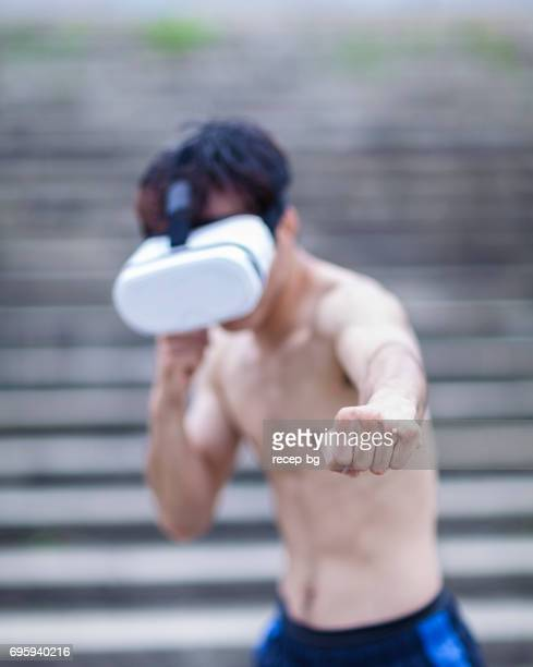 Fighter With Virtual Reality Device