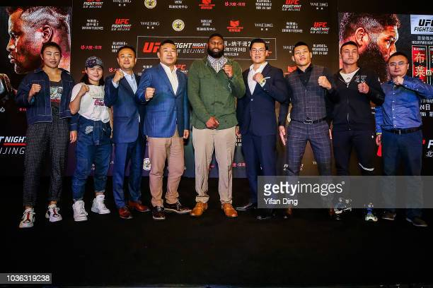 UFC fighter Wu Yanan Zhang Weili The Live Entertainment Executive of WME/IMG China David He the Vice President of Chinese Boxing Federation Han Jiuli...