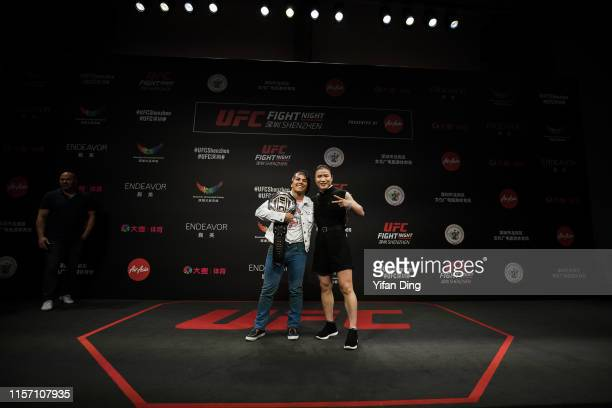 UFC fighter Zhang Weili and UFC fighter Jessica Andrade pose for faceoff session during 2019 UFC Performance Institute Panel and UFC Fight Night...