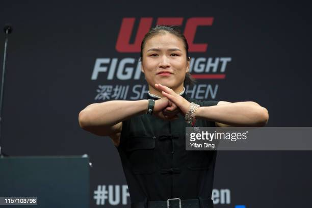 UFC fighter Zhang Weili greets audience during 2019 UFC Performance Institute Panel and UFC Fight Night Shenzhen Press Conference at UFC Performance...