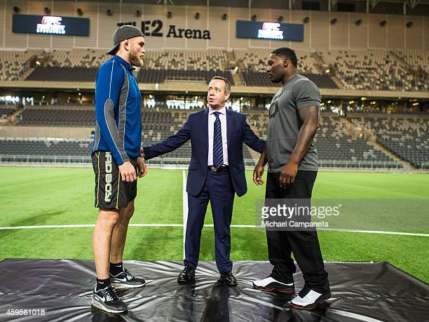 UFC fighters Alexander Gustafsson and Anthony Johnson face off at the Tele2 Arena on November 25 2014 in Stockholm Sweden