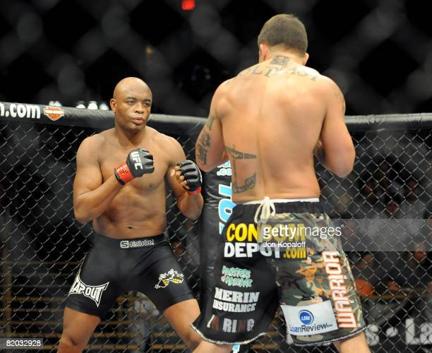 UFC fighters Anderson The Spider Silva and James The Sandman Irvin at the UFC Light Heavyweight Fight Anderson The Spider Silva vs James The Sandman...