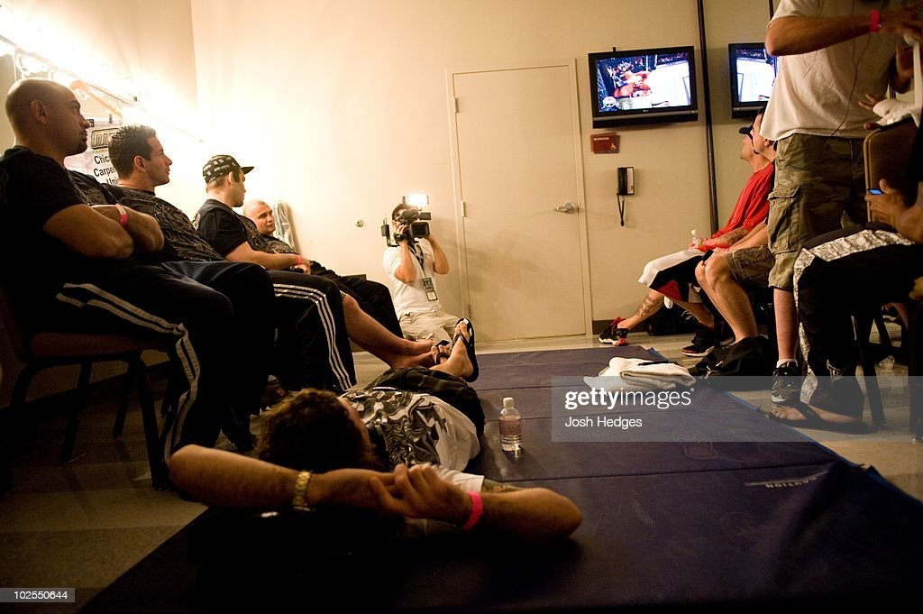 Fighters backstage during The Ultimate Fighter 9 Finale at The Pearl at the Palms on June 20, 2009 in Las Vegas, Nevada.