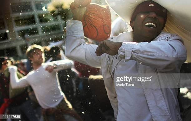 Fighters battle in Manhattan's Union Square during a massive pillow fight on April 2, 2011 in New York City. Over 130 cities worldwide are...