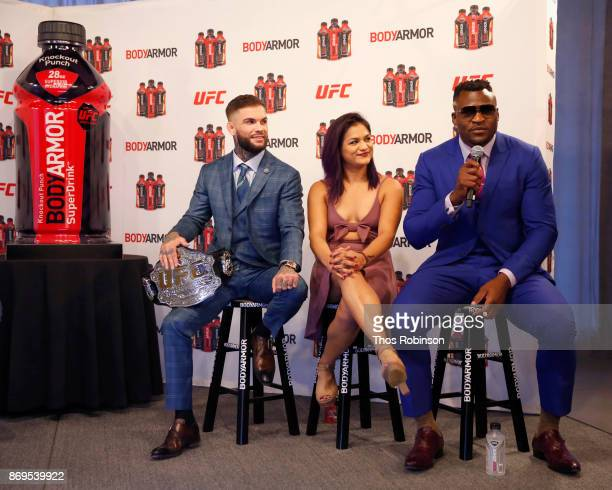 UFC Fighters Cody Garbrandt Cynthia Calvillo and Francis Ngannou speak onstage during a new partnership announcement by Kobe Bryant and BODYARMOR...