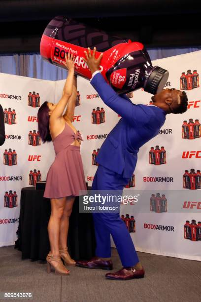 Fighters Cynthia Calvillo and Francis Ngannou attend a new partnership announcement by Kobe Bryant and BODYARMOR Sports Drink with four UFC fighters...