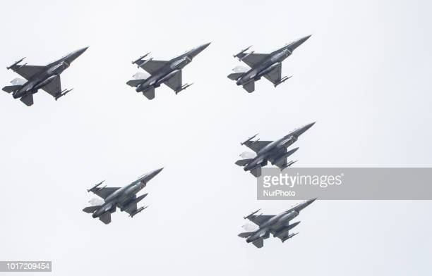 F16 fighters durning military parade in Warsaw on the day of the Polish army 15 August Warsaw Poland