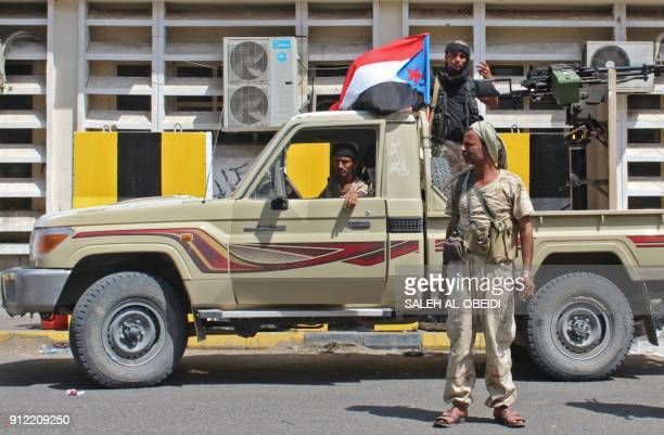 Fighters from the separatist Southern Transitional Council patrol the Old City of the government's de facto capital Aden moving closer to taking full...