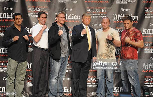 UFC Fighters Gegard Mousasi Jos Barnett Fedor Emelianenko Renato Babalu Sobral with Mark Cuban and Donald Trump attend a press conference to...