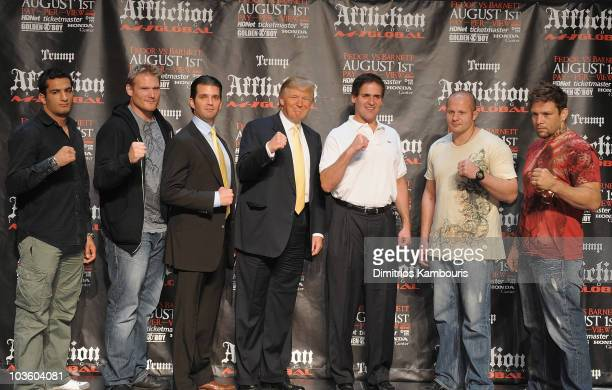 UFC Fighters Gegard Mousasi Jos Barnett Fedor Emelianenko Renato Babalu Sobral with Donald Trump Jr Donald Trump and Mark Cuban attend a press...