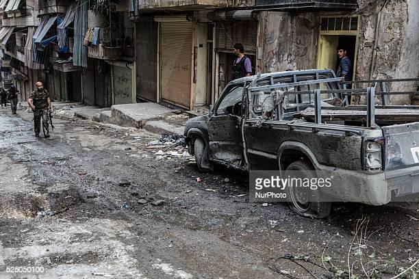 FSA fighters in action in Aleppo Syria