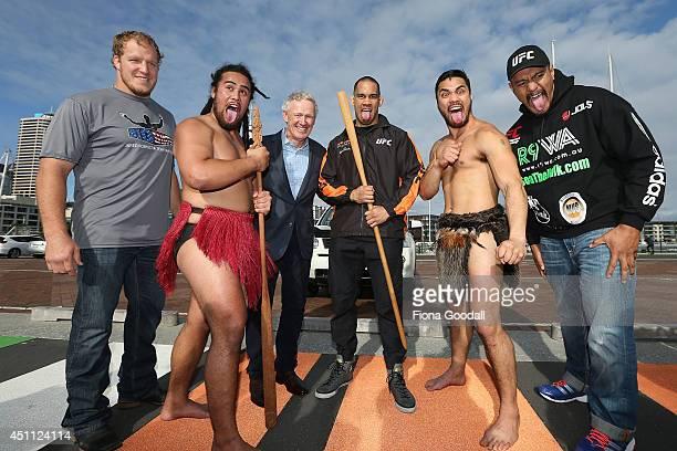 Fighters Jared Rosholt of USA James Te Huna and Soa Palelei of Australia join Maori cultural performers Edz Eramiha and Iwi Matthews with UFC...