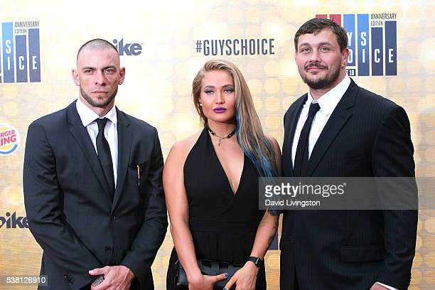 MMA fighters Joe Schilling Anastasia Yankova and Matt Mitrione attend Spike TV's 'Guys Choice 2016' at Sony Pictures Studios on June 4 2016 in Culver...