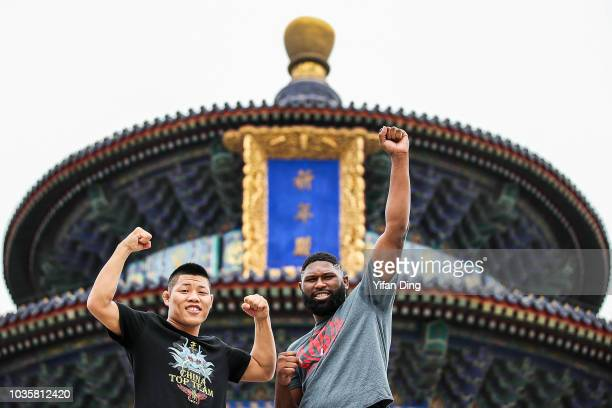 UFC fighter Curtis Blaydes of the United States looks during UFC Fight Night Beijing Athlete Tour at W hotel on September 19 2018 in Beijing China