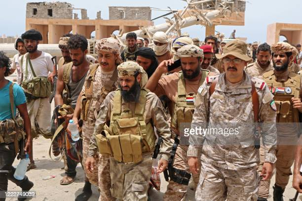 Fighters loyal to Yemen's separatist Southern Transitional Council are pictured in the southern Abyan province on June 24, 2020. - The Saudi-led...