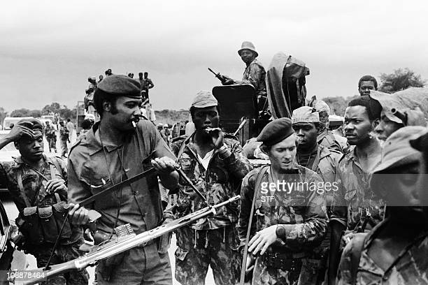 fighters make a break in the military training camp of Capolo south of Silva Porto on January 28 1976 After independence Angola was the scene of an...
