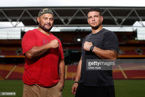 Fighters Mark Hunt and Frank Mir face off during a media opportunity at Suncorp Stadium on February 2 2016 in Brisbane Australia