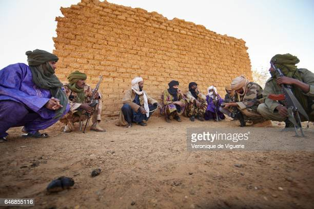 Fighters of the MNLA in Tessit in the Gao region southeastern Mali Commander AkliIkman Ag Souleyman who is in charge of around 400 MNLA fighters in...