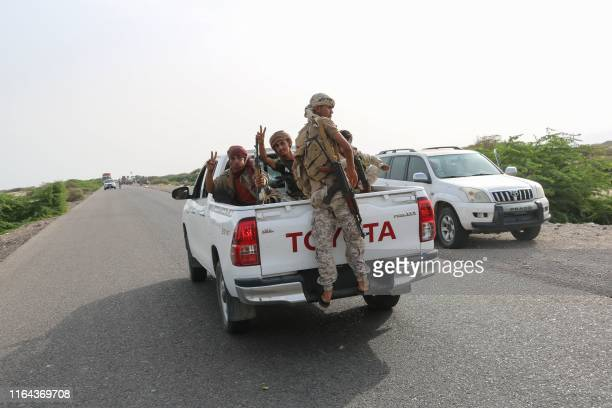 Fighters of the UAE-trained Security Belt Force, dominated by members of the the Southern Transitional Council which seeks independence for south...
