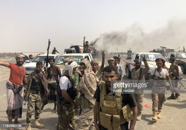 Fighters of the UAE-trained Security Belt Force, dominated by members of the Southern Transitional Council which seeks independence for south Yemen,...