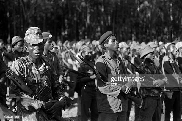 UNITA fighters parade in the military training camp of Capolo south of Silva Porto in January 1976 After independence Angola was the scene of an...