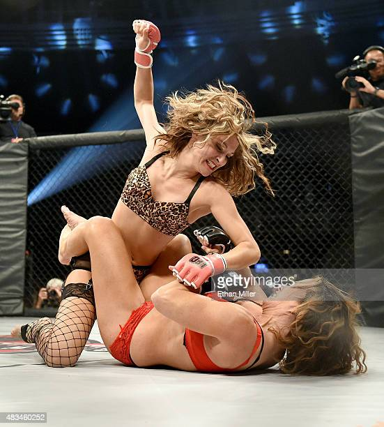 Fighters Riley 'Nuclear' Norris and Jenny 'Bloody' Valentine compete during 'Lingerie Fighting Championships 20 A Midsummer Night's Dream' at The...