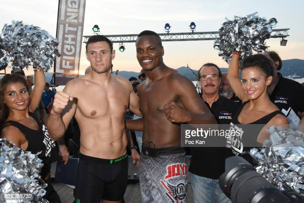 Fighters StephaneÊ Susperregui and Danyo Ilunga attend the Fight Night Weighing Party at La Bouillabaisse Saint Tropez on August 3 2017 in...