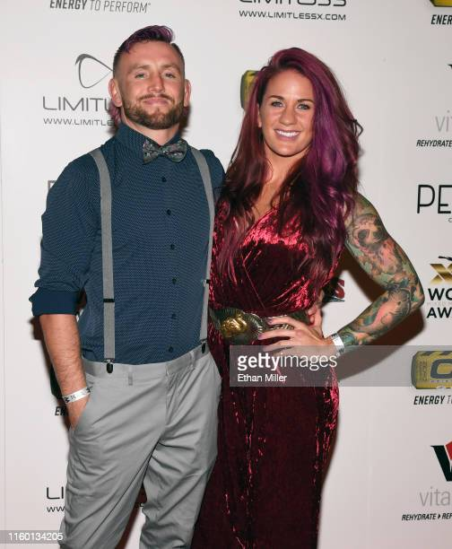 UFC fighters Tim Elliott and Gina Mazany attend the 11th annual Fighters Only World MMA Awards at Palms Casino Resort on July 3 2019 in Las Vegas...