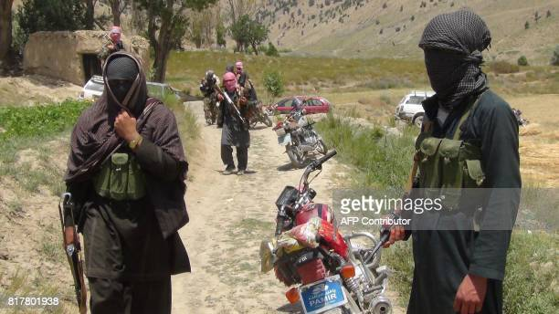 Fighters with Afghanistan's Taliban militia stand with their weapons in Ahmad Aba district on the outskirts of Gardez the capital of Paktia province...