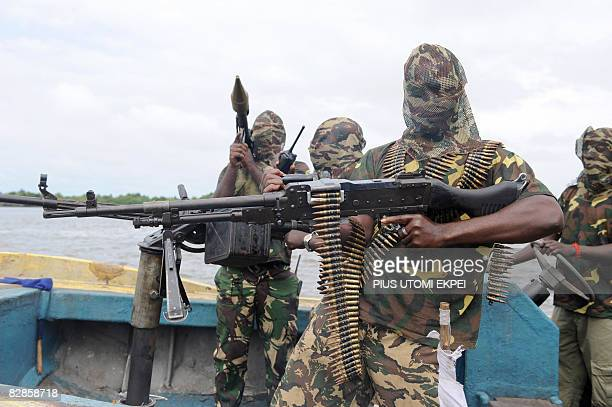 Fighters with the Movement for the Emancipation of Niger Delta prepare for an operation against the Nigerian army in Niger Delta on September 17 2008...
