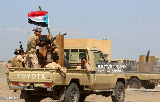 Fighters with Yemen's Security Belt Force dominated by members of the the Southern Transitional Council seeking independence for southern Yemen are...