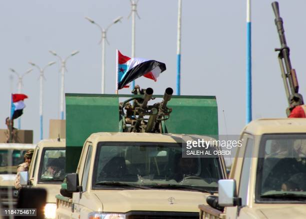 Fighters with Yemen's Security Belt Force dominated by members of the the Southern Transitional Council seeking independence for southern Yemen, are...