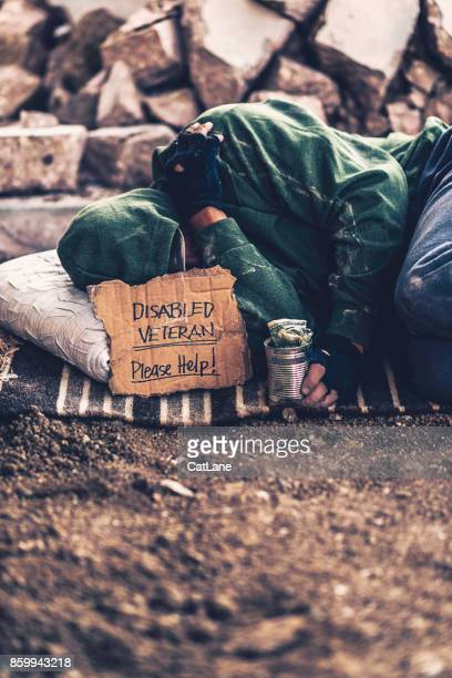 fighting adversity. homeless disabled veteran with sign and money tin - homeless veterans stock photos and pictures