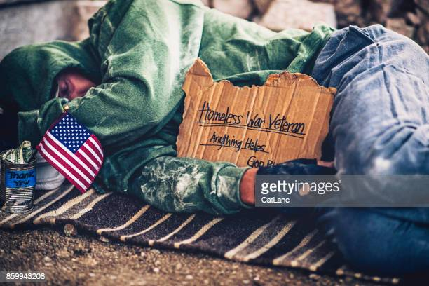 fighting adversity. homeless war veteran sleeping with sign and money tin - homeless veterans stock photos and pictures