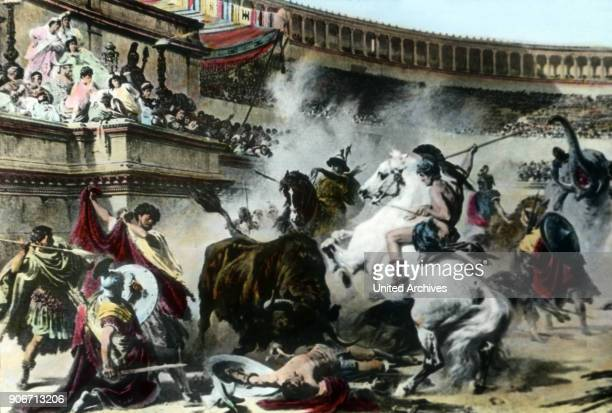 Fighting and animal hunting at the Circus Maximus in the days of emperor Nero at Rome, Italy.