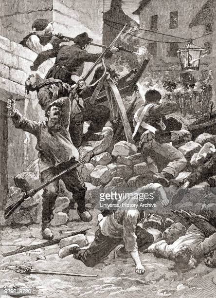 Fighting at the barricades in Paris France during the 1848 Revolution in France aka the February Revolution From The Century Edition of Cassell's...