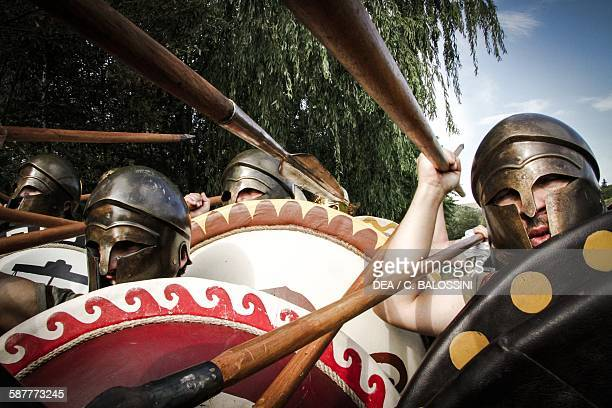 Fighting between Athenian hoplites and Spartans Peloponnesian war 5th century BC Historical reenactment