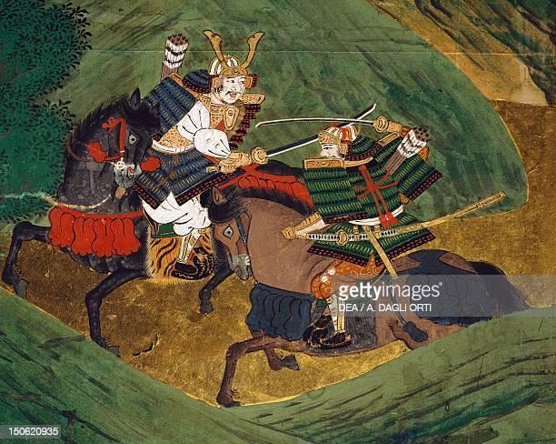 Fighting between samurai detail byobu scenes from the war Gempei 12th century Japan Tosa School Edo Period early 17th century