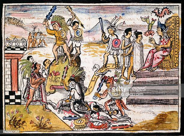 Fighting between tribes before the Spanish conquest of Mexico illustration taken from the History of the Indies by Diego Duran 1579 manuscript Madrid...