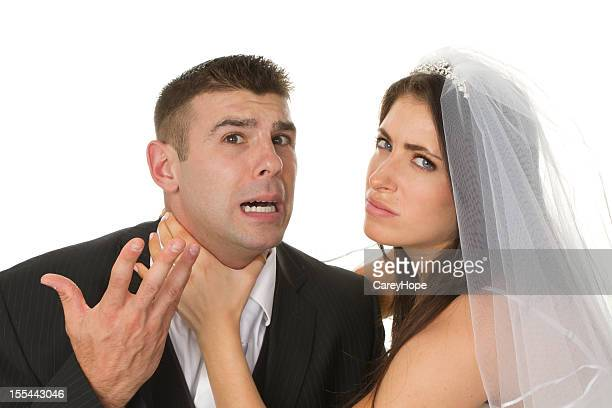 fighting bride and groom