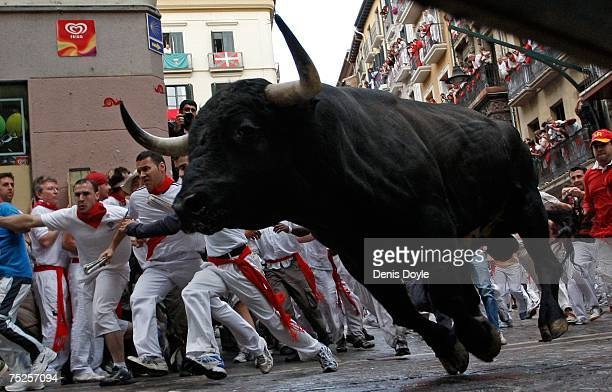 A fighting bull takes the corner at Estafeta Street during the first Running of the Bulls at the San Fermin fiesta on July 7 2007 in Pamplona Spain...
