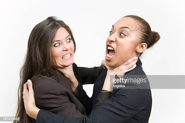 fighting business women - women being strangled stock photos and pictures