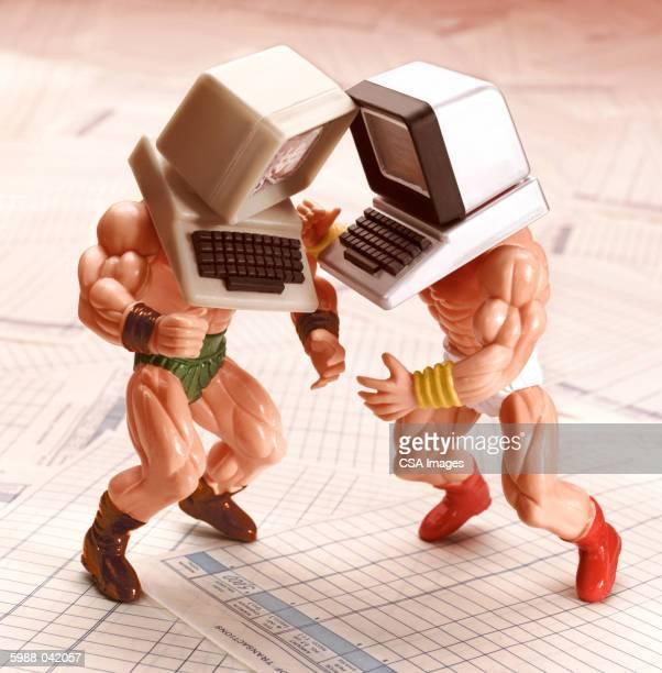 Fighting Computer Headed Dolls