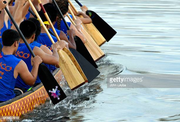 Fighting Dragons One of the top teams for the dragon boat races practices at Aurora Reservoir July 26 2016 for the Dragon Boat Races at Sloans Lake