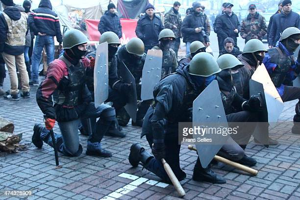 Fighting forces and militias training on Independence square during Euromaidan.