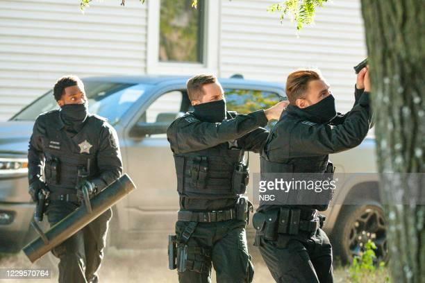 "Fighting Ghosts"" Episode 801 -- Pictured: LaRoyce Hawkins as Kevin Atwater, Jesse Lee Soffer as Jay Halstead, Patrick John Flueger as Adam Ruzek --"
